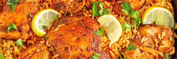 Tortilla Crusted Chicken Breast with Spanish Rice